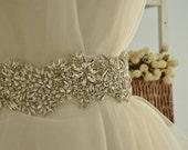 Super Luxury Rhinestone Applique ,Crystal Applique ,Rhinestone Trim for Bridal Sash Wedding Belt