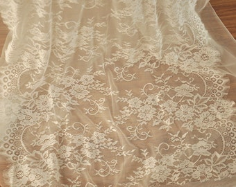 3 Yards Chantilly Wedding Lace Fabric in Ivory for Bridal Gown, Wedding Dress, Costumes Design Fabric by Yard