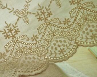 Antique style cotton lace trim, eyelet scalloped trim lace 2 yards