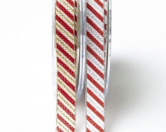 5/8 Inch Candy Cane Ribbon with Metallic Edge by the yard Christmas Ribbon Gift Wrapping