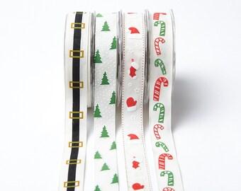 1 Inch Linen Holiday Print Ribbon by the yard Christmas Ribbon Gift Wrapping Scrapbook Santa Candy Canes Trees