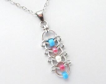 Transgender pride jewelry, trans pride pendant, LGBT jewelry,  beaded centipede weave chainmail