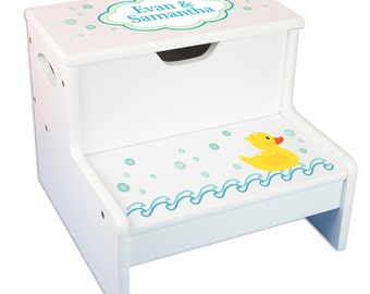 Personalized Bath Stool Rubber Ducky Step Stool with Storage for girls and boys Step & Store Duck Ducks Toddler Bathroom Stools STEP-whi