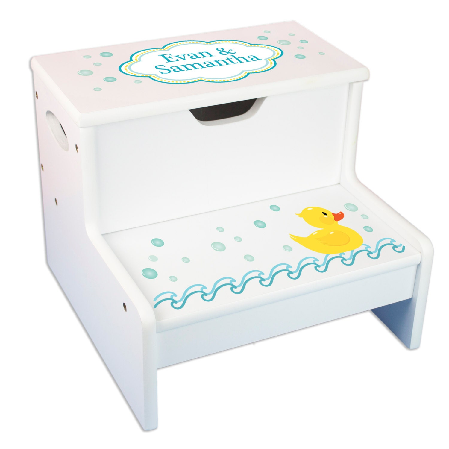 personalized bath stool rubber ducky step stool with storage. Black Bedroom Furniture Sets. Home Design Ideas