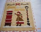 completed cross stitch CHRISTMAS CARD Dear Santa vintage style card