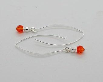 Fire Opal Swarovski Crystals Sterling Silver Earrings 02b
