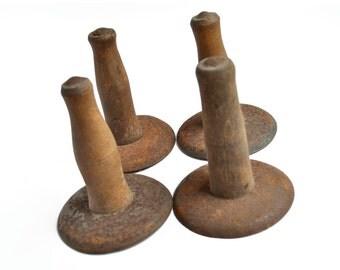 ONE hog scraper, rusty tool, primitive farm tool, vintage wood handle, pig butchering, rustic decor