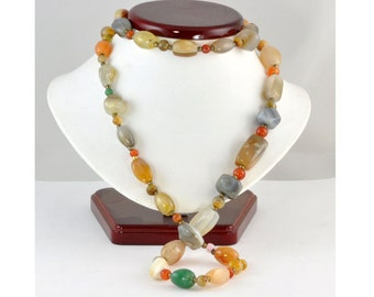 "Vintage 1950's Polished Agate Bead Necklace - Yellow, Green, Orange Colors - 35"" Single Strand in Fall Colors"