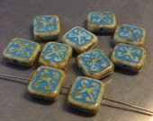 Czech Ornamental Rectangle Bead 12mm x 11mm Beige Picasso Turquoise Wash Qty 10