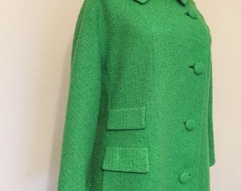 Vintage Jacket / Kelly Green Vintage Jacket in GREAT vintage condition / 1960s Coat / Pea Coat / 1960s Jacket / Green Jacket / Vintage Coat