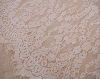 off white chantilly lace fabric, French lace fabric