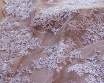 white cord lace fabric with sequins, sequined alencon lace fabric, bridal lace fabric