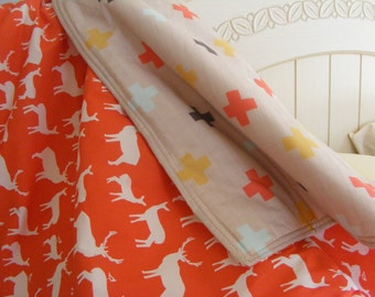 Coral Beige Reversible Baby Blanket / gender neutral  / Deer and Swiss Cross Blanket / Woodland Blanket