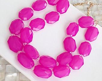 Fuchsia Pink Statement Necklace Bold Bright Fun Sweet 16 Bridesmaid Gift Bridesmaid Necklace