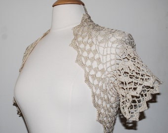 Natural and gold crochet bolero, wedding shrug, bridesmaid bolero