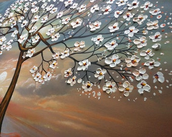 Large Art on canvas tree Landscape Oil Acrylic Modern Home Decor Painting blooming tree cherry white