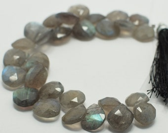Labradorite Heart Briolettes, Labradorite Briolette Faceted Flat Drops, 10x10-11x11 mm, 6 Beads, Destash Gemstones #106