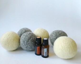 Wool dryer balls, set of six, gray & white, mix set