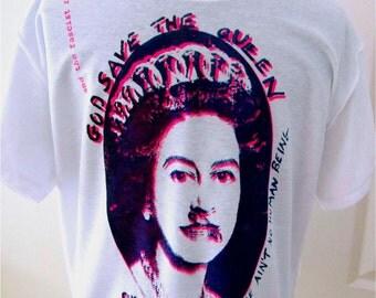 "Sex Pistols Tshirt - God Save The Queen - Classic Punk Tee - Londonpunk hand screenprint -Sm36""-Med 38""-XL42"""
