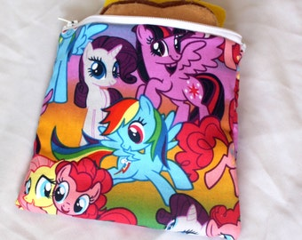 "Reusable sandwich bag, snack bag in my little pony print 7""x6.5"""