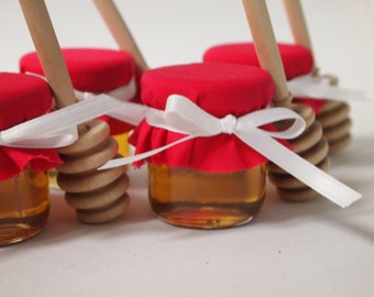 50 Red Honey Mini Mason Jars Favors with Honey Dippers.  Great for Weddings, Baby Showers or any party event that need a touch of Red.