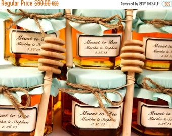 SALE ends Sunday 12 Honey Favors with Wooden Honey Dippers and Labels