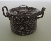 Antique Dollhouse Graniteware Enamelware Pot With Lid Speckled Brown White