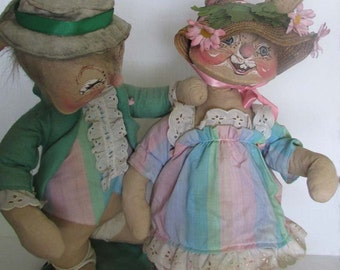 Vintage Annalee Mobilitee Doll Mr Mrs Easter Bunny Bonnet Dapper Soft Sculpt Figures 1967 1976