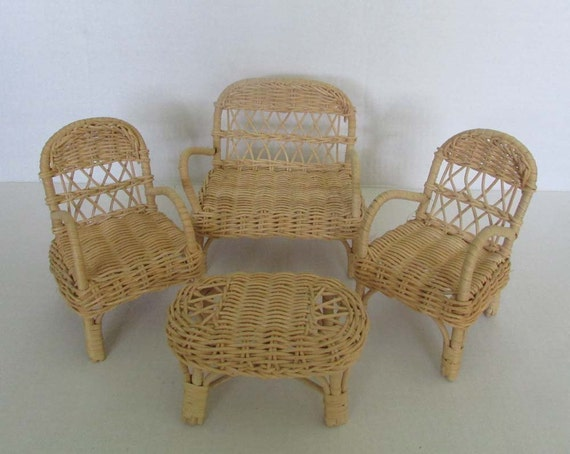 Vintage Wicker Rattan Doll Furniture Set 4 Pieces Couch Love