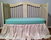 Free Shipping***Shabby Chic Crib Skirt, Ivory Long andGgathered  - You Choose the Fabric