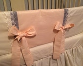 FREE SHIPPING***, SALE***Cottage Chic Crib Set, Ivory and Pale Peach- Ready To Ship