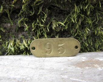 Number Tag Vintage Original Locker Basket Tag Brass Metal Number 95 Tag #95 Tag Lucky Number Address Door Number vtg Early 1900's Old