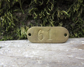Number Tag Vintage Original Locker Tag Basket Tag Brass Metal Number 61 Tag #61 Tag Lucky Number Address Door Number vtg Early 1900's Old