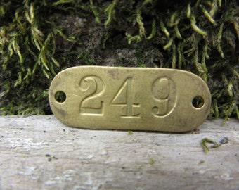 Number Tag Vintage Original Locker Tag Basket Tag Brass Metal Number 249 Tag #249 Tag Lucky Number Address Door Number vtg Early 1900's Old