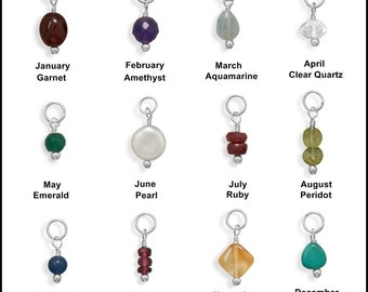 Birthstone Gemstone Charm Drops - 925 Sterling Silver or 14K 20K Gold Filled
