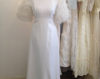 Maribella - True Vintage Wedding Dress White/Ivory Cotton Drill and Glamorous Feather Detailing
