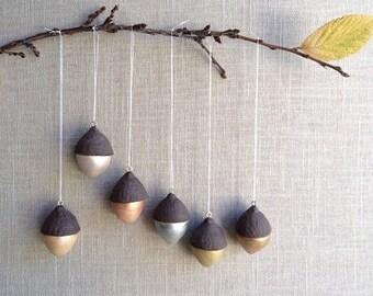 Set of 6 handmade ceramic acorn ornaments