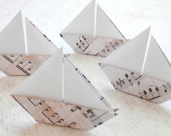 Origami Sail Boats - 50 Origami Music Note Paper Sail Boats. Escort Card. Place Card.