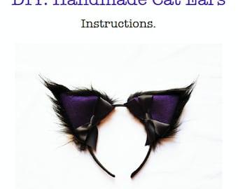 DIY Kit: Handmade Cosplay Cat Ears Headband Black Fur Purple Hens Party