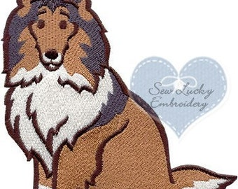 Sheltie Applique Embroidered Patch , Sew or Iron on