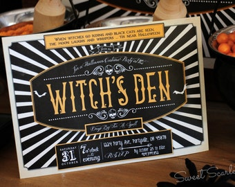 HALLOWEEN Invitation for Halloween Party - Witch's Den - Vintage - Gothic - Witch - Printable file. Print or email your own. 5x7. DIY.