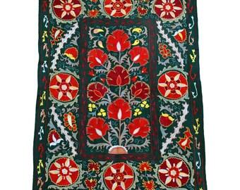New Handmade Silk Suzani ES112, Suzani Tapestry, Suzani Wall Hanging, Suzani Bedspread, Suzani Blanket, Suzani Bedding, Suzani