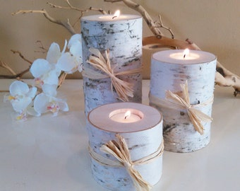 TREASURY ITEM - 3 Birch tree branch candles - Birch logs - Wedding candles  - Wood candles  - Home decor