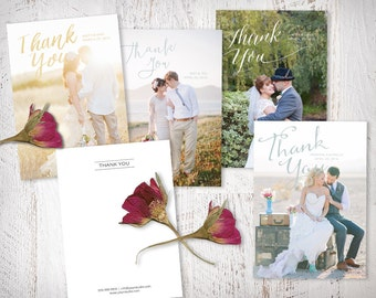 Thank You Wedding Cards, Thank You Card Templates, Photoshop Templates for Photographers, Calligraphy Overlays, TY101, INSTANT DOWNLOAD
