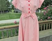 Vintage 1940s  Red White Gingham Seersucker Dress Large Rockabilly UNWORN