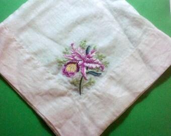 Vintage 1940s Handkerchief Hibiscus Flower/ Handmade/Large