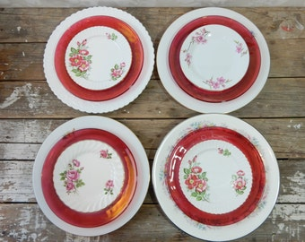 White and pink Mismatched Plate set, Dinner, Salad and Bread Plate, bone china and pressed glass, Wedgwood, Spode