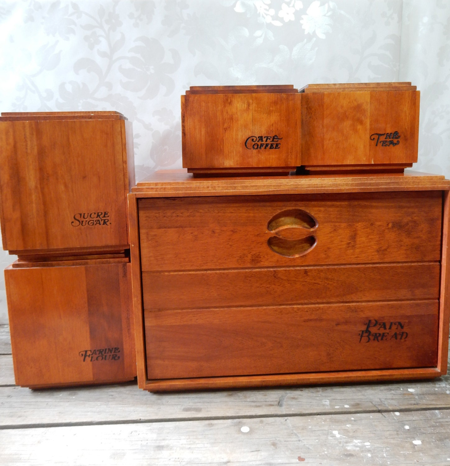 Wood Bread Box And Canister Set Barbomaid By Baribocraft