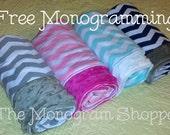 Baby Infant Child Chevron Knit/Minky Dot Blanket - Free Monogramming!