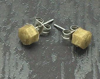 Little Gold Metallic hexagon rounded top stud earrings with surgical steel posts